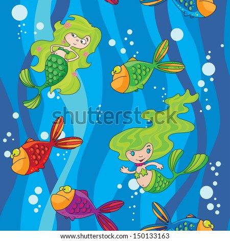 illustration of a seamless mermaids fish in water with waves