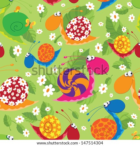 illustration of a seamless snails with flowers and leaves - stock vector