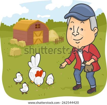 Illustration of a Senior Citizen Feeding Chickens in a Farm - stock vector