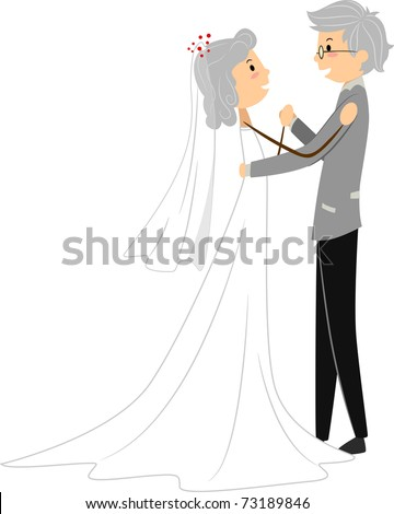 Illustration of a Senior Couple Celebrating Dancing at Their Wedding