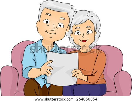 Illustration of a Senior Couple Reading Their Retirement Plan Together - stock vector