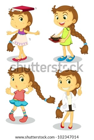 Illustration of a series of a cute girl - stock vector