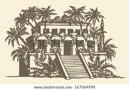 Illustration of a series of vector drawings for the Seven Wonders of the Ancient World. Hanging Gardens of Babylon - stock vector