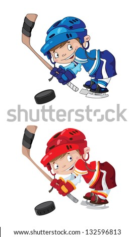 illustration of a set funny boy hockey