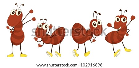 Illustration of a set of brown ants - stock vector