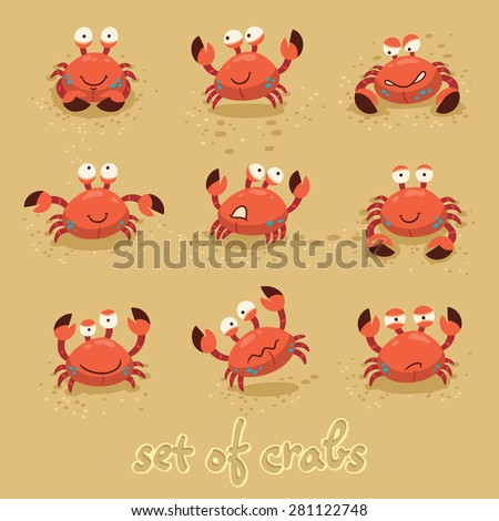 Illustration of a set of cartoon crab characters with various expressions and emotions - stock vector