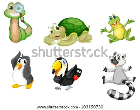 Illustration of a set of cute animals - stock vector