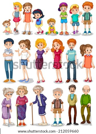 Illustration of a set of family - stock vector