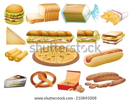Illustration of a set of food - stock vector