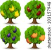 illustration of a set of four different fruit trees - stock vector