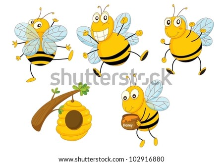 Illustration of a set of funny bees - stock vector