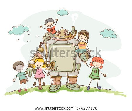Illustration of a Set of Kids Playing with their Steampunk Robot Friend - stock vector