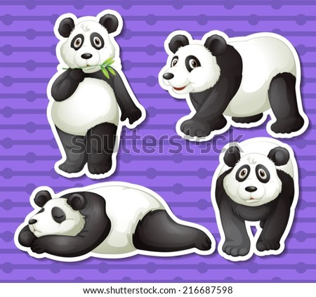 Illustration of a set of panda with background - stock vector