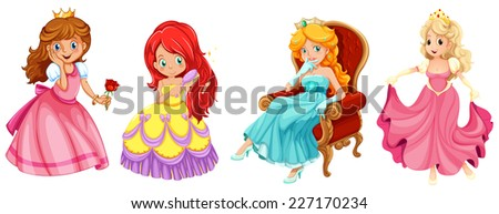 illustration of a set of princess and queens - stock vector
