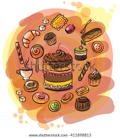 illustration of a set of sweets