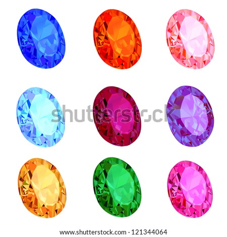illustration of a set of transparent precious stones on the white - stock vector