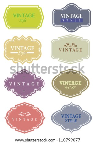 Illustration of a set of Vector vintage labels