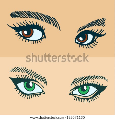 Illustration of a set of women's eyes. - stock vector