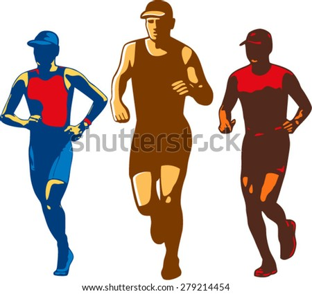 Illustration of a set or collection of triathlete marathon runner running facing front done in retro style on isolated background. - stock vector