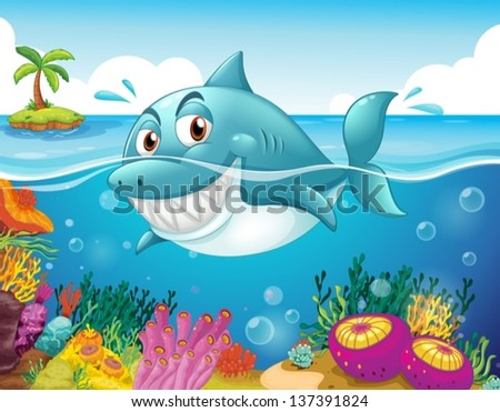 Illustration of a shark in the sea with corals - stock vector
