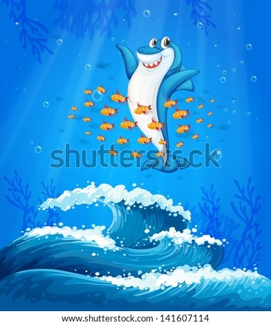 Illustration of a shark surrounded with fishes under the sea - stock vector