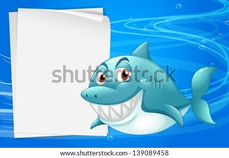 Illustration of a shark with an empty bondpaper under the sea - stock vector