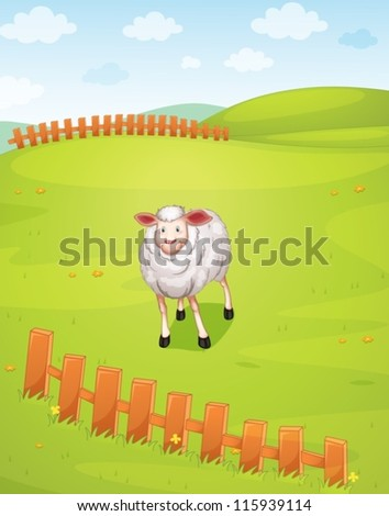 illustration of a sheep in a beautiful nature - stock vector