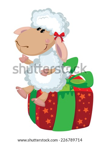 illustration of a sheep on the box - stock vector