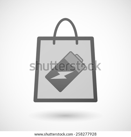 Illustration of a shopping bag icon with a battery - stock vector