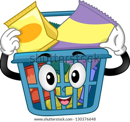 Illustration of a Shopping Basket Mascot holding some Snacks inside - stock vector