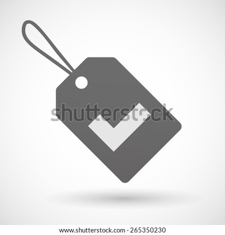 Illustration of a shopping label icon with a check mark - stock vector