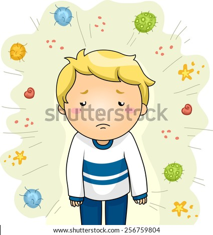 Illustration of a Sick Boy Surrounded by Different Strains of Viruses - stock vector