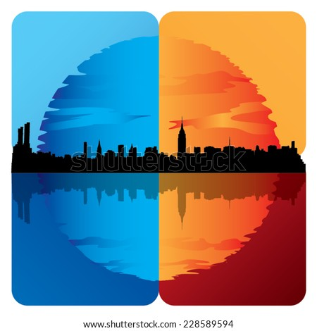 Illustration of a silhouette of New York city with sunset and night. - stock vector