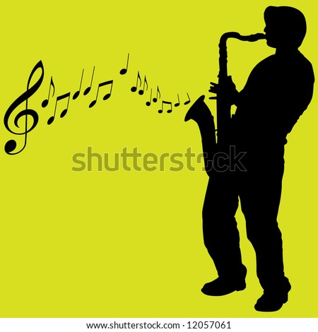 Illustration of a silhouetted saxophone player on green background.