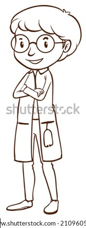 Illustration of a simple doctor on a white background - stock vector