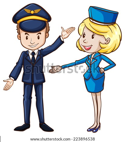 Illustration of a simple drawing of a pilot and a stewardess on a white background  - stock vector