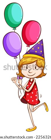Illustration of a simple drawing of a young girl with balloons on a white background