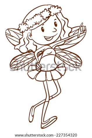 Illustration of a simple sketch of a cute fairy on a white background