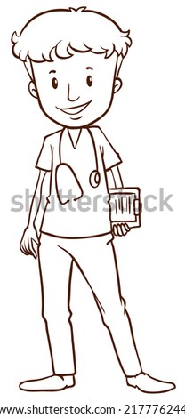 Illustration of a simple sketch of a male doctor on a white background  - stock vector