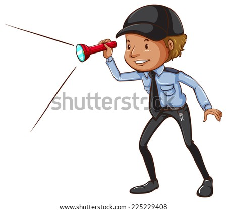Illustration of a sketch of a security guard with a flashlight on a white background   - stock vector