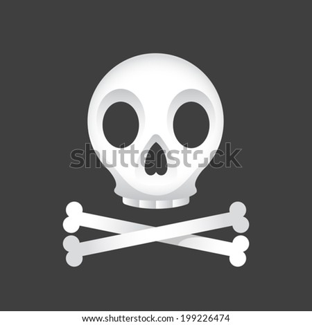 Illustration of a skull and crossbones on a black background. Eps 8 Vector. - stock vector