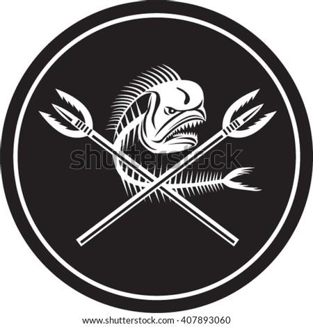 Illustration of a skull of dorado dolphin fish, mahi mahi or mahi-mahi with crossed primitive spearfishing spear set inside circle on isolated background done in retro style.  - stock vector