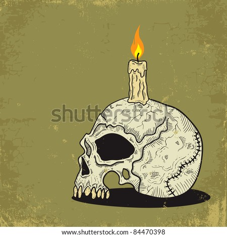 Illustration of a skull with a candle - stock vector