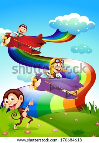 Illustration of a sky with a rainbow and planes with monkeys - stock vector