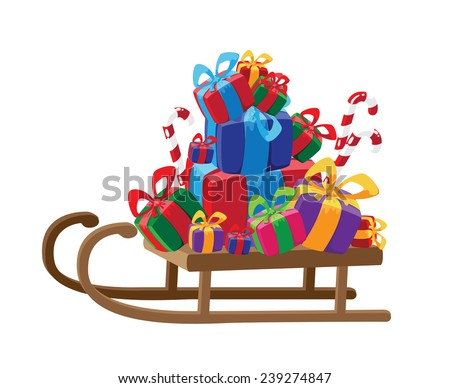 illustration of a sled with gifts