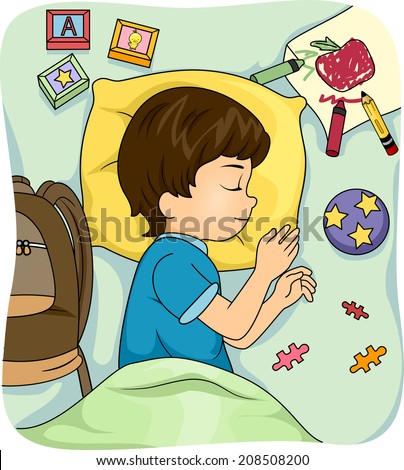 Illustration of a Sleeping Boy Surrounded by Educational Materials - stock vector