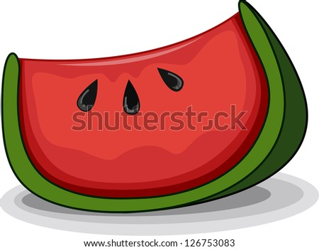 Illustration of a Slice of Watermelon with its Seeds Clearly Visible