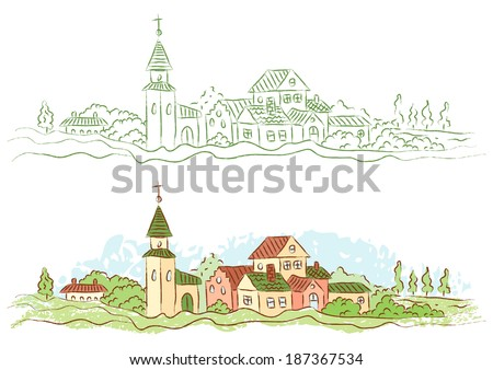 Illustration of a small country town - stock vector