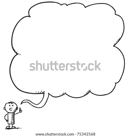 Illustration of a small man speaking something - stock vector