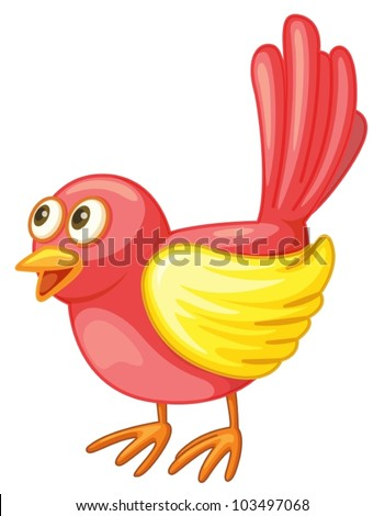Illustration of a small red bird - stock vector